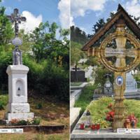 Duszatyn - kapliczka - Polska Bojkowszczyzna, Rozavlea - krzyż nagrobny - Rumunia Maramuresz